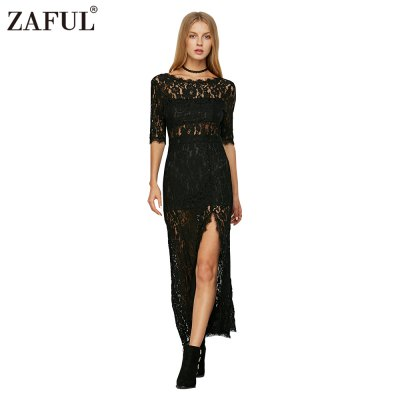 Sexy high collar  backless perspective lace half sleeve woman slim slit  lace dress