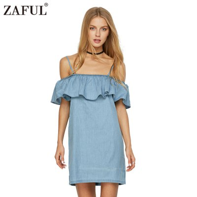 2016 casual fashion sexy slash flounce  woman denim dressMini Dresses<br>2016 casual fashion sexy slash flounce  woman denim dress<br>