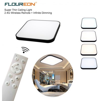 Floureon® Super Thin 30W LED Ceiling Light, 2.4G Wireless Remote Control Infinite Dimming, 24inch LED Flush Mount Ceiling Light, 2000LM, 100~240V, Suitable for Living Room, Bedroom, Hotel, Bakery etc.