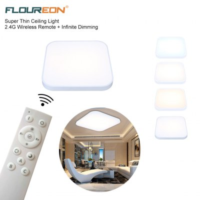 Floureon® Super Thin 64W LED Ceiling Light, 2.4G Wireless Remote Control Infinite Dimming, 35inch LED Flush Mount Ceiling Light, 4800LM, 180~240V, Suitable for Living Room, Bedroom, Hotel, Bakery etc.