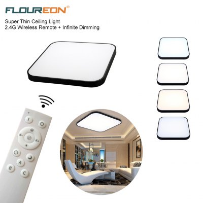 Floureon® Super Thin 36W LED Ceiling Light, 2.4G Wireless Remote Control Infinite Dimming, 28inchLED Flush Mount Ceiling Light, 2800LM, 100~240V, Suitable for Living Room, Bedroom, Hotel, Bakery etc.