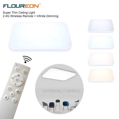 Floureon® Super Thin 48W LED Ceiling Light, 2.4G Wireless Remote Control Infinite Dimming, 29.5inchLED Flush Mount Ceiling Light, 3000LM, 100~240V, Suitable for Living Room, Bedroom, Hotel, Bakery etc