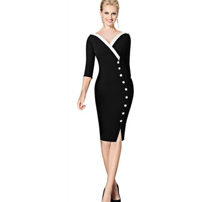 Kenancy Retro Style Pencil Dress Fashion Stitching V-neck Exquisite Button Decoration Women Three Quarter Sleeve Pencil Dress Work Party Wear