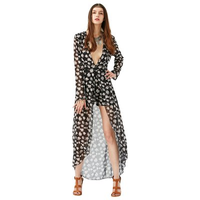 2016 new style romantic floral printing sexy deep-V-neck dress woman long sleeve chiffon jumpsuitLong Sleeve Dresses<br>2016 new style romantic floral printing sexy deep-V-neck dress woman long sleeve chiffon jumpsuit<br>