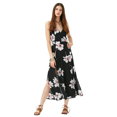 2016 fashion sexy deep-V-neck floral printing chiffon woman slit braces dressSleeveless Dresses<br>2016 fashion sexy deep-V-neck floral printing chiffon woman slit braces dress<br>