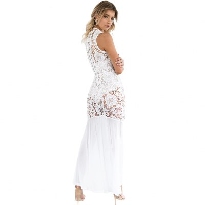Woman lace dress new fashion sexy elegant style Dress Womens round neck sleeveless fit&amp;flare and hi-lo hem design maxi lace dress with underwearSleeveless Dresses<br>Woman lace dress new fashion sexy elegant style Dress Womens round neck sleeveless fit&amp;flare and hi-lo hem design maxi lace dress with underwear<br>
