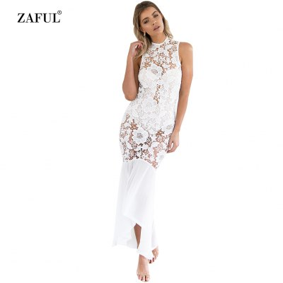 Woman lace dress new fashion sexy elegant style Dress Womens round neck sleeveless fit&flare and hi-lo hem design maxi lace dress with underwear