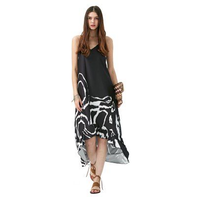 2016 new arrival ethnic style maxi dress woman round neck irregular hem design geometric patterns printing spaghetti strap dressSleeveless Dresses<br>2016 new arrival ethnic style maxi dress woman round neck irregular hem design geometric patterns printing spaghetti strap dress<br>