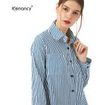 kenancy Spring Summer Women Cotton Shirts Blouse Striped Shirt Turn-Down Collar loose Tops Long Sleeve Women Blouses for sale