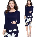 best Kenancy Womens Long Sleeve Print Floral Solid Patchwork Button Casual Work Bodycon Spring Autumn office Dress