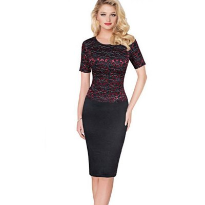Gamiss Elegant Lace Dress Women Delicate Floral Lace Short Sleeve Dress Work Party Cooktail Sheath Bodycon  Pencil DressSleeveless Dresses<br>Gamiss Elegant Lace Dress Women Delicate Floral Lace Short Sleeve Dress Work Party Cooktail Sheath Bodycon  Pencil Dress<br>