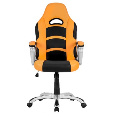 (UK ML-7243 OFFICE CHAIR ORANGE) LANGRIA Ergonomic High-Back Faux Leather Racing Style Computer Gaming Executive Office Chair with Padded Armrest, Adjustable Height, 360 Degree Swivel, Orange