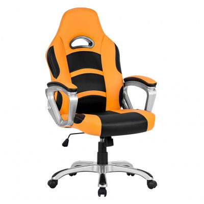 (UK ML-7243 OFFICE CHAIR ORANGE) LANGRIA Ergonomic High-Back Faux Leather Racing Style Computer Gaming Executive Office Chair with Padded Armrest, Adjustable Height, 360 Degree Swivel, OrangeOffice Standing Desk<br>(UK ML-7243 OFFICE CHAIR ORANGE) LANGRIA Ergonomic High-Back Faux Leather Racing Style Computer Gaming Executive Office Chair with Padded Armrest, Adjustable Height, 360 Degree Swivel, Orange<br>