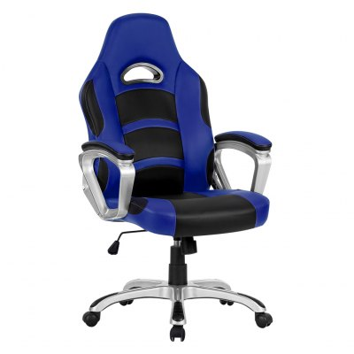 (UK ML-7243 OFFICE CHAIR BLUE) LANGRIA Ergonomic High-Back Faux Leather Racing Style Computer Gaming Executive Office Chair with Padded Armrest, Adjustable Height, 360 Degree Swivel, BlueOffice Standing Desk<br>(UK ML-7243 OFFICE CHAIR BLUE) LANGRIA Ergonomic High-Back Faux Leather Racing Style Computer Gaming Executive Office Chair with Padded Armrest, Adjustable Height, 360 Degree Swivel, Blue<br>