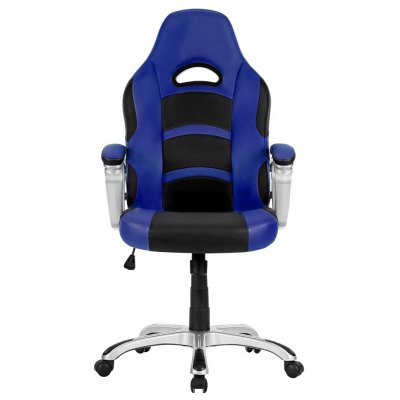 (UK ML-7243 OFFICE CHAIR BLUE) LANGRIA Ergonomic High-Back Faux Leather Racing Style Computer Gaming Executive Office Chair with Padded Armrest, Adjustable Height, 360 Degree Swivel, Blue