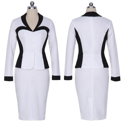 Kenancy Womens Spring Autumn Longsleeve Turn Down Collar Women\\\s Elegant Lapel Colorblock Optical Illusion Patchwork Faux Twinset Wear to Work Office Sheath Bodycon DressBodycon Dresses<br>Kenancy Womens Spring Autumn Longsleeve Turn Down Collar Women\\\s Elegant Lapel Colorblock Optical Illusion Patchwork Faux Twinset Wear to Work Office Sheath Bodycon Dress<br>