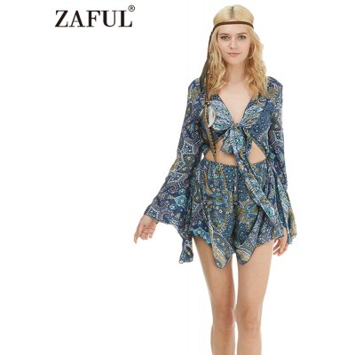Zaful Woman Jumpsuit Spring And Summer Bohemian Printing Ethnic Style Plunging neckline And Trumpet Sleeve Design Mini Jumpsuit