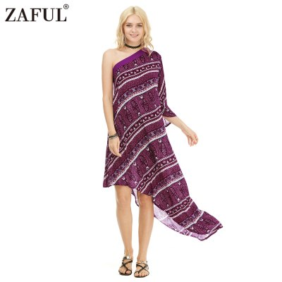 Zaful Woman Dress Spring And Summer Bohemian Printing Ethnic Style One-shoulder And Asymmetrical Hem Design Midi DressMidi-Dress<br>Zaful Woman Dress Spring And Summer Bohemian Printing Ethnic Style One-shoulder And Asymmetrical Hem Design Midi Dress<br>