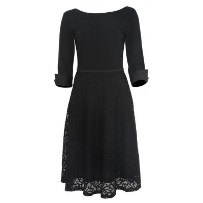 Kenancy Womens Elegant Lace Skirt Patchwork Round Neck 3/4 Sleeve Work Office Party A-Line Dress Stretch Slim Fit Dress