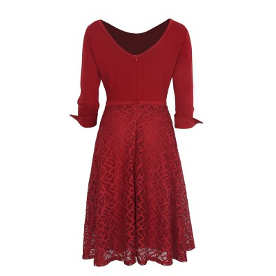 Kenancy Womens Elegant Lace Skirt Patchwork Round Neck 3/4 Sleeve Work Office Party A-Line Dress Stretch Slim Fit DressBodycon Dresses<br>Kenancy Womens Elegant Lace Skirt Patchwork Round Neck 3/4 Sleeve Work Office Party A-Line Dress Stretch Slim Fit Dress<br>