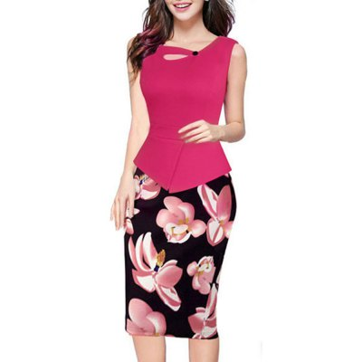 Kenancy Womens Floral Print Solid Patchwork Button Casual Work Office Party Sleeveless Stretch Bodycon Slim False Two Pieces DressBodycon Dresses<br>Kenancy Womens Floral Print Solid Patchwork Button Casual Work Office Party Sleeveless Stretch Bodycon Slim False Two Pieces Dress<br>