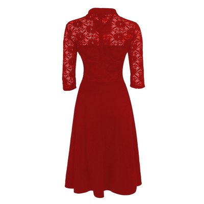 Kenancy Womens Elegant Lace Patchwork Dress 3/4 Sleeve Turn-Down Collar A-Line Bodycon Slim Midi Dress Embroidered Work Office  Party  DressBodycon Dresses<br>Kenancy Womens Elegant Lace Patchwork Dress 3/4 Sleeve Turn-Down Collar A-Line Bodycon Slim Midi Dress Embroidered Work Office  Party  Dress<br>