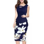 Buy Kenancy Womens Floral Print Solid Patchwork Button Casual Work Office Party Sleeveless Stretch Bodycon Slim False Two Pieces Dress XL DEEP BLUE