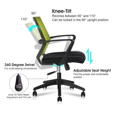 (IT MCB064 GREEN) Finether Mid-Back Swivel Mesh Task Office Chair with Knee-Tilt, 120 Kg Capacity, GreenOffice Standing Desk<br>(IT MCB064 GREEN) Finether Mid-Back Swivel Mesh Task Office Chair with Knee-Tilt, 120 Kg Capacity, Green<br>