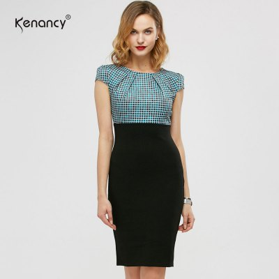Kenancy Womens Elegant Patchwork Cap Sleeve    Ruched High Waist O-Neck Knee Casual Work Party Sheath Bodycon Pencil Office DressBodycon Dresses<br>Kenancy Womens Elegant Patchwork Cap Sleeve    Ruched High Waist O-Neck Knee Casual Work Party Sheath Bodycon Pencil Office Dress<br>