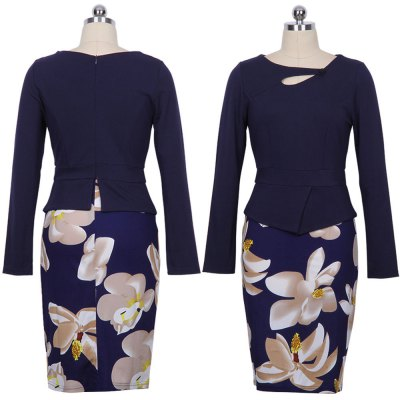 Kenancy Womens Long Sleeve Print Floral Solid Patchwork Button Casual Work Bodycon Spring Autumn office Dress