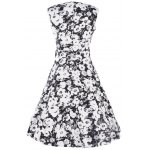 Buy ZAFUL Fashion Vintage 50s New Retro Floral Print Plus Size Dress Womens Summer Sleeveless Band Full Circle Evening Party Club Wear Demitoilet S WHITE