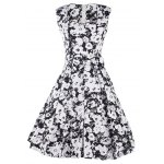 Buy ZAFUL Fashion Vintage 50s New Retro Floral Print Plus Size Dress Womens Summer Sleeveless Band Full Circle Evening Party Club Wear Demitoilet M WHITE