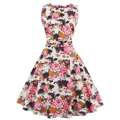 2016 Summer New Retro Floral Print Plus Size Dress Womens Round Collar Sleeveless Band Full Circle Evening Party Club Wear Vintage Demitoilet
