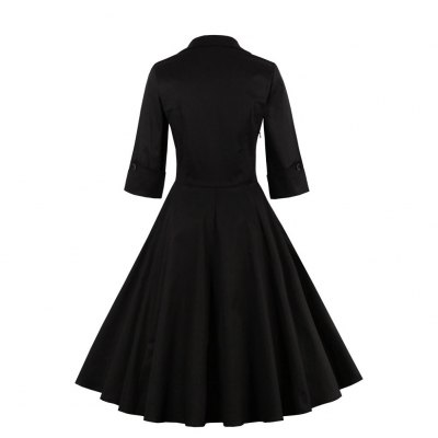 Woman dress 2016 new Hepburn style vintage dress womens stand collar square-cut neck 3/4 Sleeve rufffles and contrast color stitching design retro fit&amp;flare dressMidi-Dress<br>Woman dress 2016 new Hepburn style vintage dress womens stand collar square-cut neck 3/4 Sleeve rufffles and contrast color stitching design retro fit&amp;flare dress<br>