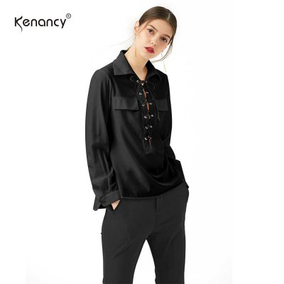 Kenancy Sexy Chiffon Blouse Shirt Women Fashion Bandage Side Slit Long Sleeve Blouse Female Office Street ShirtBlouses<br>Kenancy Sexy Chiffon Blouse Shirt Women Fashion Bandage Side Slit Long Sleeve Blouse Female Office Street Shirt<br>