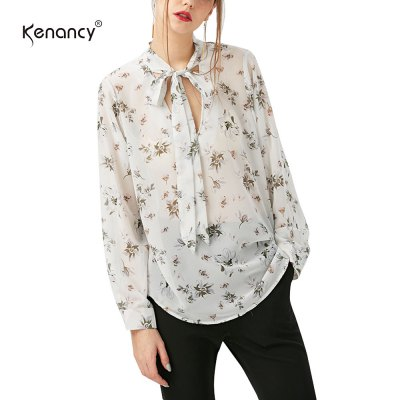 Kenancy Floral Printing Shirt Fashion Tie Sexy V-neck Long Sleeve Loose Chiffon BlouseBlouses<br>Kenancy Floral Printing Shirt Fashion Tie Sexy V-neck Long Sleeve Loose Chiffon Blouse<br>