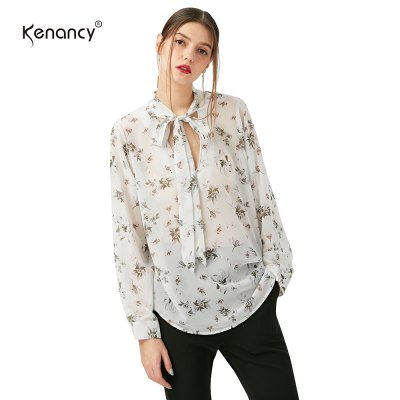 Kenancy Floral Printing Shirt Fashion Tie Sexy V-neck Long Sleeve Loose Chiffon Blouse