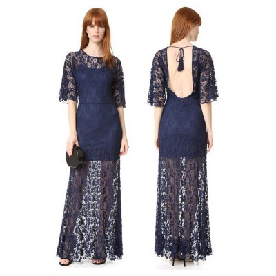 Sexy round neck backless perspective lace half sleeve woman tassels rope slim lace dress