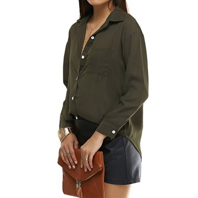 2016 fashion style contrast color button  blouse little stand collar casual long sleeve woman blouseBlouses<br>2016 fashion style contrast color button  blouse little stand collar casual long sleeve woman blouse<br>