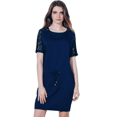 2016 Casual Style Round Neckline Bat Short Sleeve  Waist Drawstring Spliced Lace Design Loose-Fitting dressMini Dresses<br>2016 Casual Style Round Neckline Bat Short Sleeve  Waist Drawstring Spliced Lace Design Loose-Fitting dress<br>