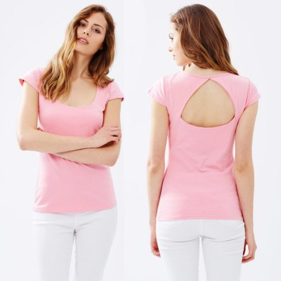 spring Autumn sexy deep-U neck slim woman top hollow out backless T-shirtTees<br>spring Autumn sexy deep-U neck slim woman top hollow out backless T-shirt<br>