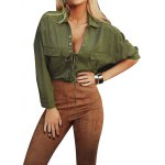 Buy 2016 fashion sexy deep-V neck frock woman shirt turn-down collar tie blouse S ARMY GREEN