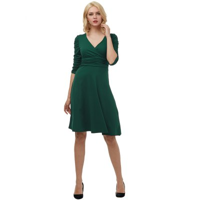 Kenancy Elegant Swing Dress Female Sexy V-neck Half Sleeve Elastic Fold Waist Dress Casual Work WearBodycon Dresses<br>Kenancy Elegant Swing Dress Female Sexy V-neck Half Sleeve Elastic Fold Waist Dress Casual Work Wear<br>