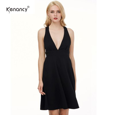 Kenancy Sexy Big Swing Dress Female Deep V-neck Backless Sexy Party Dress Casual Formal DressBodycon Dresses<br>Kenancy Sexy Big Swing Dress Female Deep V-neck Backless Sexy Party Dress Casual Formal Dress<br>