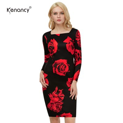 Kenancy Vintage Flower Printing Dress Sexy Women Square Neck Casual Party Evening Special Occasion Pencil DressBodycon Dresses<br>Kenancy Vintage Flower Printing Dress Sexy Women Square Neck Casual Party Evening Special Occasion Pencil Dress<br>
