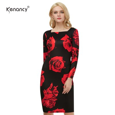 Kenancy Vintage Flower Printing Dress Sexy Women Square Neck Casual Party Evening Special Occasion Pencil Dress