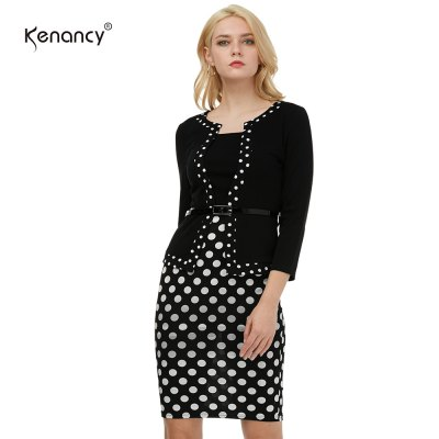 Kenancy Female Work Dress Fashion Color Stiching Three Quarter Sleeve Pencil Dress With BeltBodycon Dresses<br>Kenancy Female Work Dress Fashion Color Stiching Three Quarter Sleeve Pencil Dress With Belt<br>