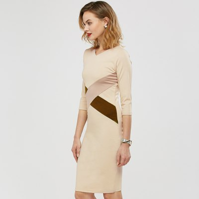 Kenancy Fashion Simple Sheat Dress Hit Color Stitching Three Quarter Sleeve V-neck Women Pencil Dress Wear To Work PartyBodycon Dresses<br>Kenancy Fashion Simple Sheat Dress Hit Color Stitching Three Quarter Sleeve V-neck Women Pencil Dress Wear To Work Party<br>