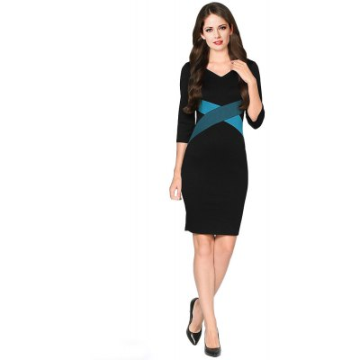 Kenancy Fashion Simple Sheat Dress Hit Color Stitching Three Quarter Sleeve V-neck Women Pencil Dress Wear To Work Party