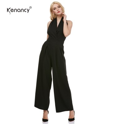 Kenancy Sexy Elegant Wide Leg Jumpsuit Female Fashion Sleeveless Backless Sexy V-neck Style Casual Work Party Wear RompersJumpsuits &amp; Rompers<br>Kenancy Sexy Elegant Wide Leg Jumpsuit Female Fashion Sleeveless Backless Sexy V-neck Style Casual Work Party Wear Rompers<br>